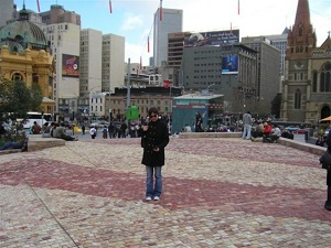 Using my iPhone in Federation Square, Melbourne