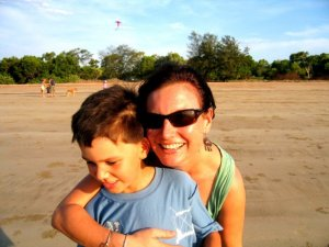 With my son at Casuarina Beach, Darwin, in 2005